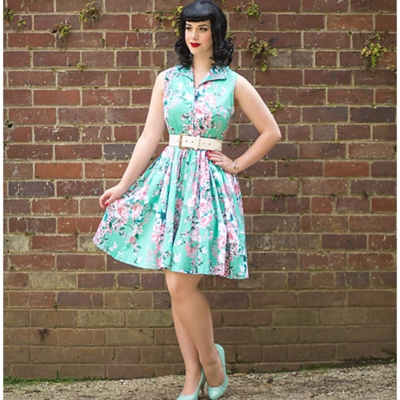 22f612cdf95 Pale teal floral Voodoo Vixen dress